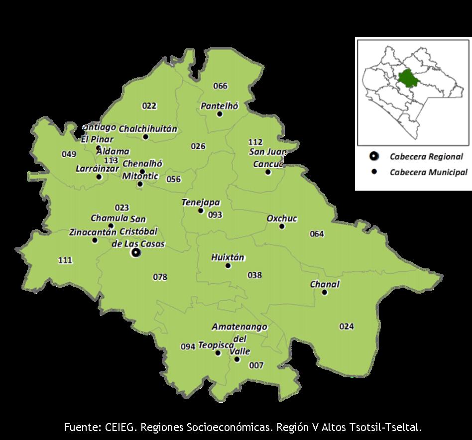 Fuente: CEIEG. Regiones Socioeconómicas. Región V Altos Tsotsil-Tseltal